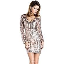 570600b07bea Miss ord Women's V Neck Long Sleeve Sequined Cocktail Mini Dress
