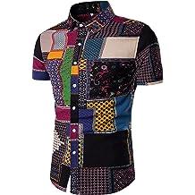 1e4b8e410049 EMAOR Mens Stylish Floral Long Sleeve Shirt & Short Sleeve Shirt