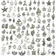 Tibetan Silver DIY Jewelry and Craft Making BronaGrand 100 Pieces Antique Mixed Charms Sea Themed Animals Charms Pendants for Bracelets//Necklaces//Earrings