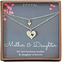 c969d702260625 EFYTAL Mother Daughter Set for Two, Cutout Heart Necklaces, 2 Sterling  Silver Necklaces