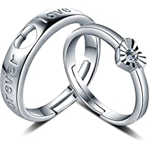 FHX Simple Personality 925 Sterling Silver Ring with Diamond Zircon Flower Opening Free Adjustable Jewelry Accessories with Forefinger Ring Swimming Against The Current Ring.