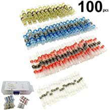 14 Studs Screws 12 Adhesive Heat-Shrink Terminal Gloaso 100A BusBar Ground Distribution Block Kit w//Cover