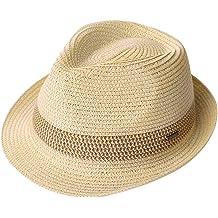 74b00ff830d16 Packable Straw Fedora Panama Sun Summer Beach Hat Cuban Trilby Men Women  55-61cm