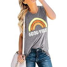 f7b40da0 Umeko Womens Good Vibes Tank Tops Loose fit Graphic Tees Rainbow Workout  Sleeveless T Shirts