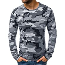 Mens Camo Shirts Long Sleeve Casual Crew Neck Hip Hop Fashion Muscle Tee T-Shirt Tops Blouse Pullover Jumper Sweatshirts
