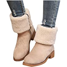 Wadonerful Womens Snow Booties Round Toe Low Heel Waterproof Winter Warm Roman Shoes Slip-On Elastic Band Ankle Boots