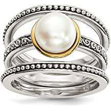 c989063ad 925 Sterling Silver 14k 8mm Button Freshwater Cultured Pearl Set Of 3 Band  Rings Ring Cz