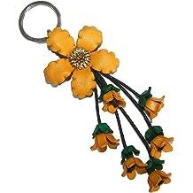 Bella Pazzo Blue Handmade Dahlia Flower Leather Keychain Key Ring Clasp Bag Charm Handbag Purse charm Car Key Pendant