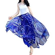 RTYou Women Skirts Basic Foldable High Waist Regular and Flower Printing Maxi Skirts Plus Size
