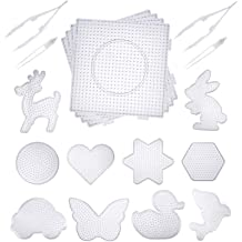 20 Pieces 5mm Fuse Beads Pegboards Clear Plastic Pegboards Craft Tray with 20 Pieces Colorful Cards 4 Pieces White Beads Tweezers 4 Hang Ropes
