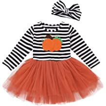 Lurryly❤Halloween Costumes Outfits Baby Girls Boys Pumpkins Romper Bodysuit 4Pcs 0-2T