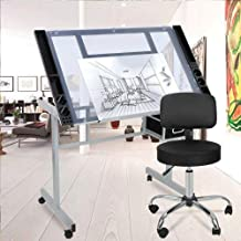 MB-THISTAR Drafting Table Craft Station with Glass Top Drawing Desk Art Work Station Artist