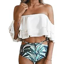 5071c39124 Tempt Me Women Two Piece Swimsuit Off Shoulder Ruffled Flounce Crop Top  Bikini with Cutout Bottom
