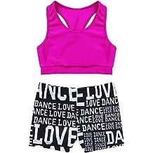 17682fe5b75b MSemis Girls' Kids 2-Piece Active Set Dance Sport Outfits Racer Back