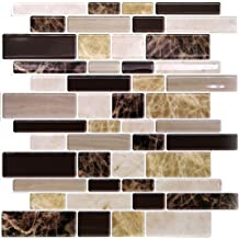 Set of 16 Trenton Gifts Peel /& Stick Marble Look Tiles White and Black