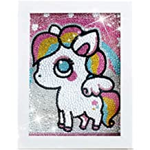 5D Diamond Painting Framed Canvas Full Drill 5d Diamond Painting Kit for Kids Rhinestone Embroidery Cross Stitch Arts Craft Cute Squirrel 11x11 inches