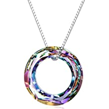 0300b838bd8 AOBOCO Blue Circle Crystal Necklace 925 Sterling Silver Chain, Multi Color  Round Simple Pendants with Swarovski Crystals Fine Jewelry Gift for .