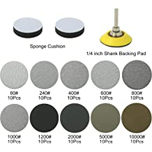 Including 6Pcs 1//4 Shank Drill Attachment Backing Pads with 6Pcs Soft Foam Layer Buffering Pad for Sanding Pad Drill Grinder Swpeet 12Pcs 2 Inch and 3 Inch Sanding Discs Pad Assortment Kit