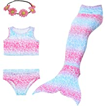 Girls Mermaid 3 Piece Swimsuit Bikini Costume Tail Outfit  4-13 Years UK STOCK