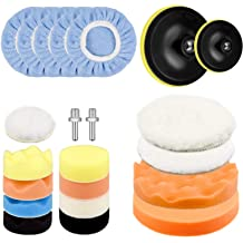 Coceca 7pcs 6 Polishing Pad Kit Sponge and Wool Polishing Pad Set with M14 Drill Adapter