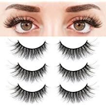 ee315c64cfc BEPHOLAN 3 Pairs False Eyelashes Synthetic Fiber Material| 3D Mink Lashes|  Natural Round Look