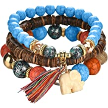 Foxishop Pack of 2 Mens Bohemia Style Beaded Multilayer Hand Woven Bracelet Pendent Charm Wrist Bangle Wristband Fashion Jewelry