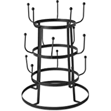 Ebros Gift 21.25 High Rustic Cast Iron Horseshoe with Western Star Mug Tree Holder Organizer Rack Stand with 4 Hooks Metal Sculpture Mugs Storage Decorative Horse Accent Farm Cabin Lodge Ranch Decor