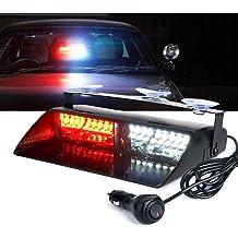 Wecade/® Newest 18w High Power 6 LED 16 Changing Models Unique Big Lens Super Bright EMS Law Enforcement Warning LED Strobe Lights Amber