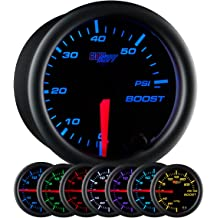 Qiilu Universal 2 52mm Car Turbo Boost Gauge Smoke Turbocharged Pressure Gauge 0-30 PSI Gauge Kit