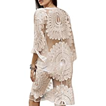 1918f8ea47e47 shermie Women's Floral Crochet Lace Beach Swimsuit Cover Ups Long  Vintage Kimono