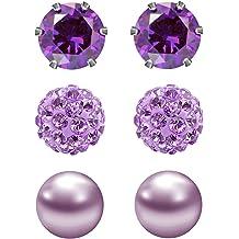 JewelrieShop Cubic Zirconia Earrings Birthstone Stud Earrings Hypoallergenic Earrings Assorted Colors Set Unisex