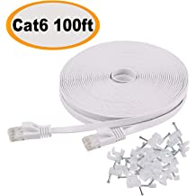 Cat 6 Ethernet Cable Router PC -Grey JSAUX 6.6ft Flat Wire LAN Rj45 High Speed Internet Network Cable-Solid Cat6 High Speed Computer Wire with Clips/& Snagless RJ45 Connectors/Compatible with Modem