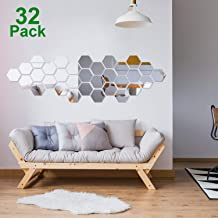 c070e1f87e 32 Pieces Removable Acrylic Mirror Setting Wall Sticker Decal for Home Living  Room Bedroom Decor (