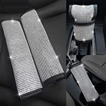 Seat Belt Shoulder Pads Set Universal Fit Fashion Stylish PU Suede Car Decoration Supplies for Ladies Women 2 Pcs Bling Bling Crystal Rhinestones Seat Belt Strap Cover A