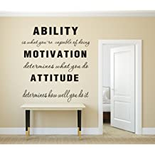 4d64897518 LUCKKYY Large Ability is What You're Capable of Doing Motivation Attitude -  Inspirational Family Words Quote Vinyl Family Wall Sticker Wall .