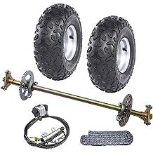 WPHMOTO Rear Axle Shaft Assembly Kit with 4.1-6 Wheels Tires Rims and Sprocket Brake Disc Pillow Block for Go Kart Quad Trike Drift Bikes