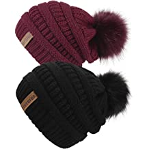 4761f10a25a5bc QUEENFUR Women Knit Slouchy Beanie Chunky Baggy Hat with Faux Fur Pompom  Winter Soft Warm Ski