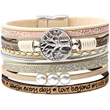 dbb2d2c9e6e DESIMTION Wrap Boho Multilayer Leather Wide Cuff Handmade Wristbands Wrist  Braided Magnetic Buckle Casual Bangle Bracelet for Women, Teen Girl, .