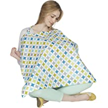 Volwco Nursing Cover for Breastfeeding Poncho-Breathable Cotton Privacy Nursing Cover,Multi-Use Baby Car Seat Covers Stroller Cover