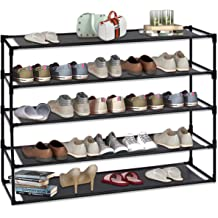Multi Function Shelf Organizer 5 Tier Steel Shoe Rack Shelf Detachable Non-Woven Waterproof Clothes Rack Shoe Storage Shelves Free Standing Flat Racks Classic Style Jerry /& Maggie