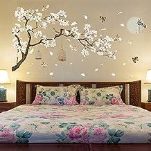 Black decalmile Dandelion Wall Decals Flying Flowers Butterflies Wall Stickers Dandelion Wall Art Living Room Bedroom Decor