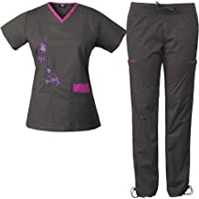 773a7597678 Medgear Women's Stretch Scrubs with Embroidery Scrubs Set Medical Uniform