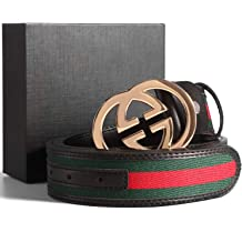 1b897cb6b GG Gold/Silver/Black Buckle Black Leather Unisex Fashion Belt for Men or  Women
