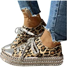 Dainzuy Women/'s Leopard Low Top Canvas Sneaker Platfrom Rhinestone Shiny Lace up Round Toe Flat Walking Shoes