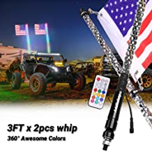 SWATOW INDUSTRIES Lighted Antenna Whip Spiral RGB LED Whip with Remote Control Off Road Chase Light LED Light Whip for ATV UTV RZR Truck Jeep 4 Wheeler Dune Buggy Boat 5ft LED Whip Light with Flag
