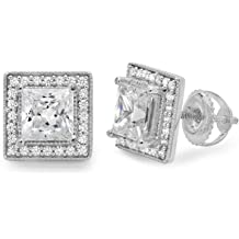 0.9ct Brilliant Princess Cut Solitaire Highest Quality Moissanite Unisex Anniversary Gift Stud Earrings Real Solid 14k Yellow Gold Screw Back