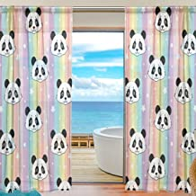 Rainbow Unicorn Animal Star Voile Curtain Drapes for Door Kitchen Living Room Bedroom 55x78 inches 2 Panels SEULIFE Window Sheer Curtain