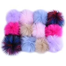 12 Colors, 2 Pcs for Each Color TIHOOD 24PCS Faux Fur Pom Pom Balls DIY Faux Fox Fur Fluffy Pom Pom with Elastic Loop for Hats Keychains Scarves Gloves Bags Accessories