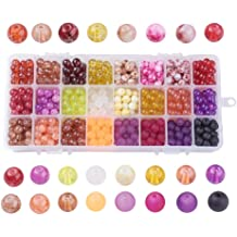 PandaHall Elite About 340 Pcs Tiny Satin Luster Glass Pearl Round Loose Spacer Beads Diameter 4mm 6mm 8mm 10mm for Jewelry Making Light Pink