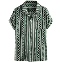 LUCAMORE Mens Plaid Casual Shirts Button Down Short Blouse Summer Standing Collar Tops